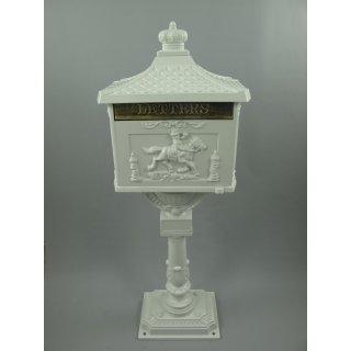 G111: Großer Nostalgie Briefkasten Aluminiumguß Standbriefkasten Antik Weiß
