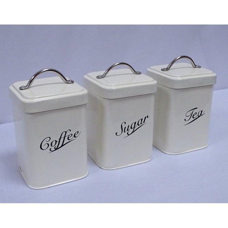 Vorratsdosen im Emaillelook Coffee Tea Sugar 3er Set Nostalgie Blechdosen