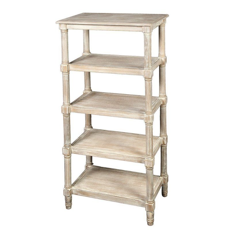 Regal, Holz Etagere im Landhausstil mit 5 Böden, Antik Wand-Regal in Shabby Weiß