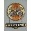 Blechschild, Reklameschild, Mother Road Always Open, Motorrad, 50x40 cm
