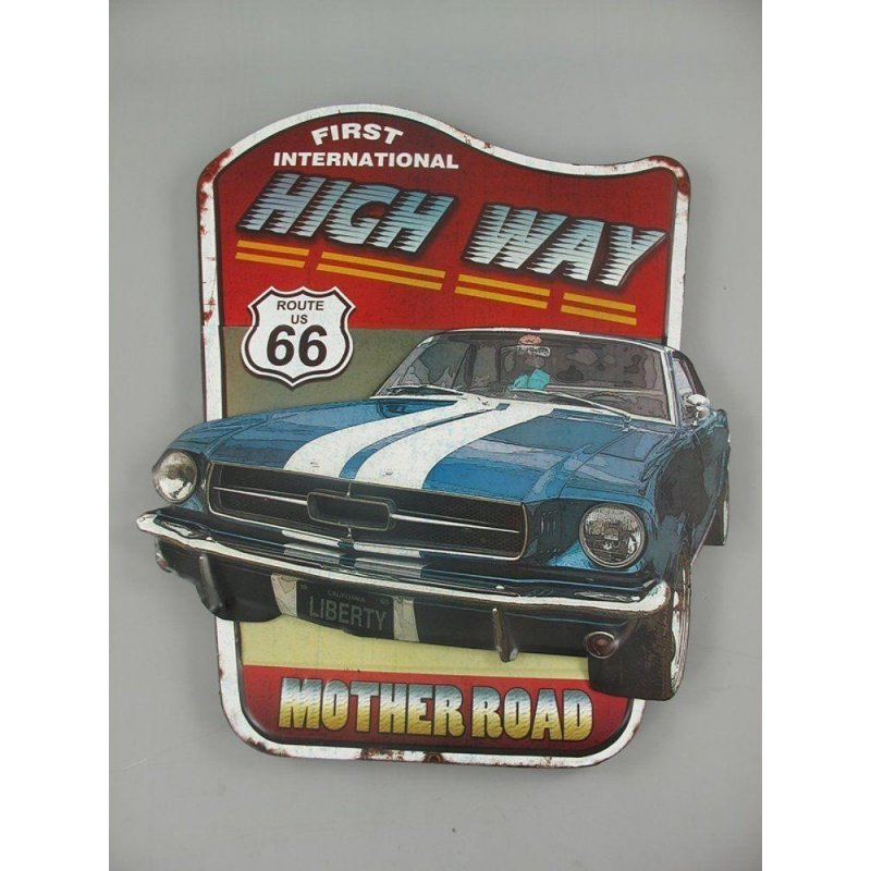 Blechschild, Reklameschild Route US 66, Mother Road, First High Way 75x60 cm