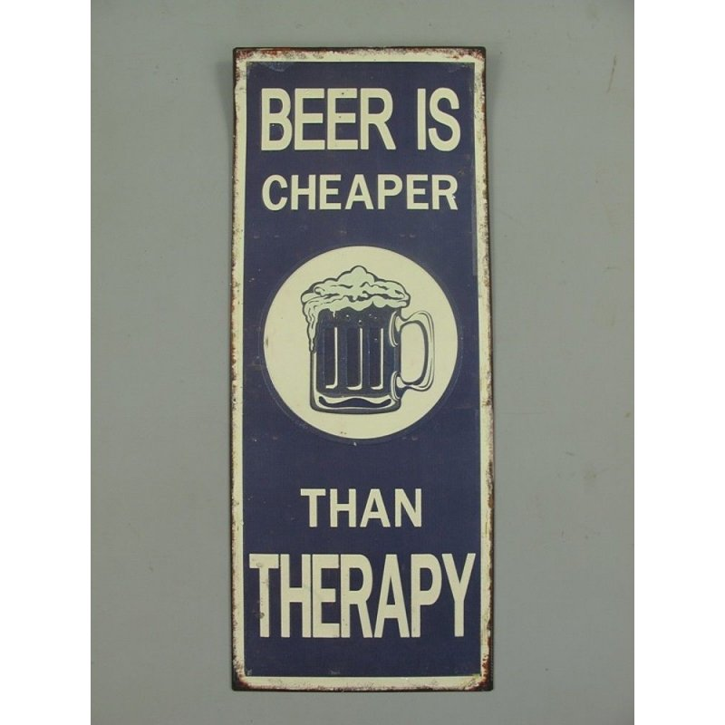 Blechschild, Reklameschild Beer is Cheaper Than Therapy, Pub Wandschild 48x19 cm
