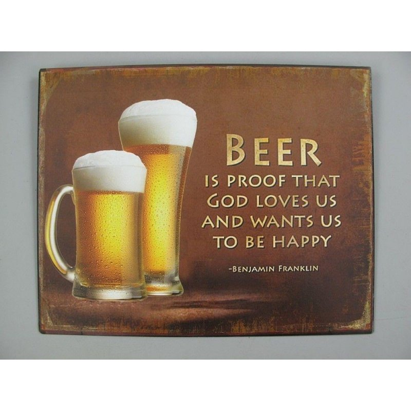 Blechschild, Reklameschild, Beer is Proof, Spruch Wandschild 20x25 cm