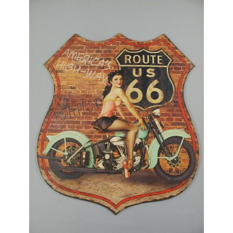 Blechschild, Reklameschild US Route 66 Pin Up Girl, Motorrad Wandschild 80x68 cm