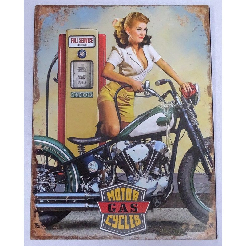 Blechschild, Reklameschild Motor Gas Cycles Pin Up Girl, Motorrad Schild 33x25 cm
