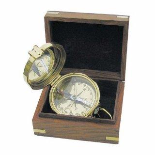 G4278 Kleiner Britischer Klappdeckel Kompass mit Deckel aus poliertem Messing
