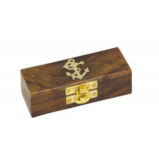 Maritime Holzbox, Leerbox, Anker als Messing Intarsie,...