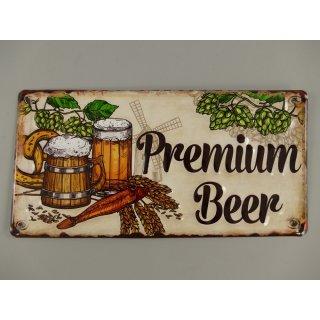 Beer on Tab Reklameschild Kneipen Schild 10x40 cm Bier vom Fass Blechschild