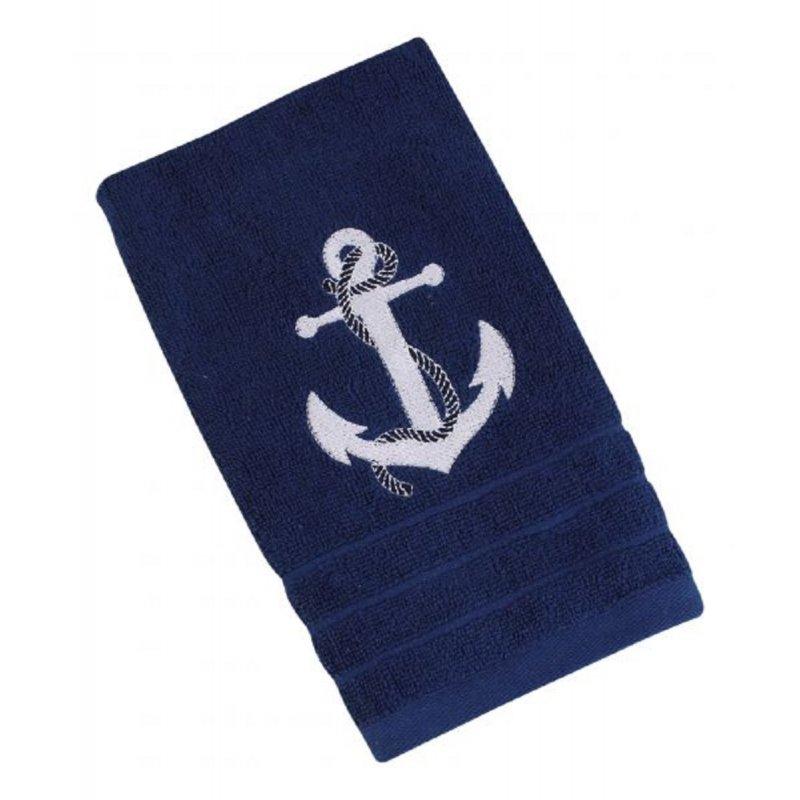 Blau mit weißem Anker 600 g// m² Gästetuch Maritimes Badetuch Gäste Handtuch