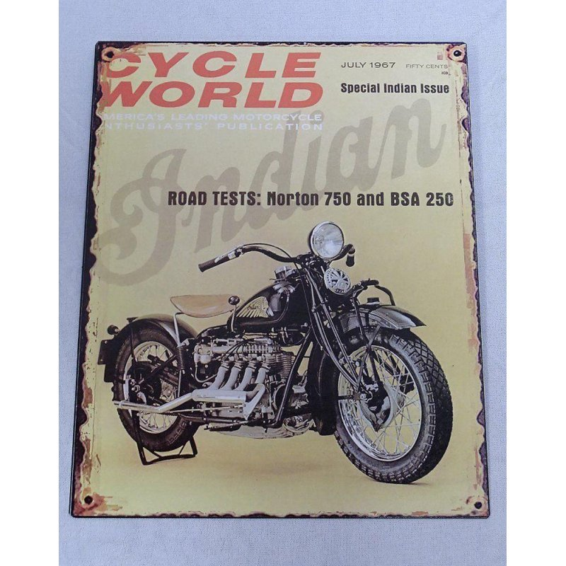 Blechschild, Reklameschild, Cycle World, Motorrad Indian 4 Zylinder 25x20 cm