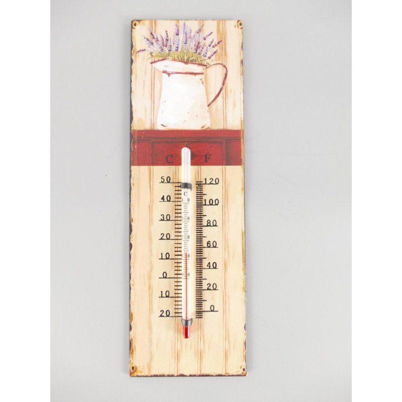 Thermometer mit Lavendel Motiv, Blech Thermometer, Retro Wandthermometer