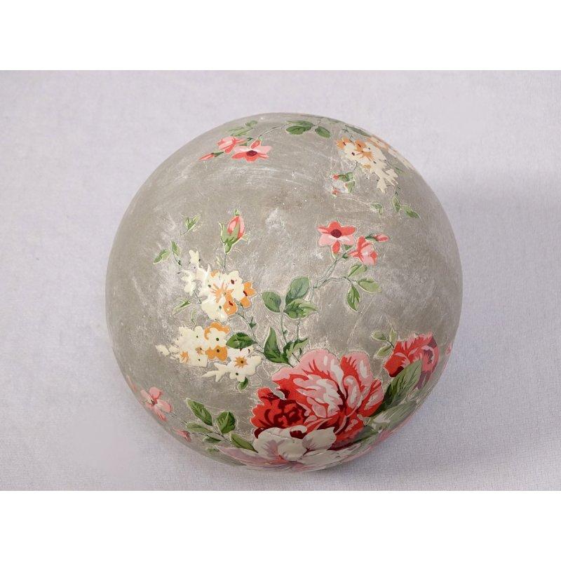 Gartenkugel Rosenkugel Beetkugel profilierte Terrakotta Kugel mit Rosenblüten