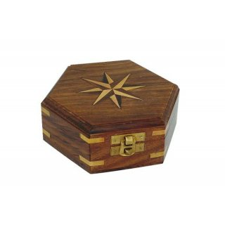 Holzbox, sechseckige Maritime Box mit Windrose Inlay und...