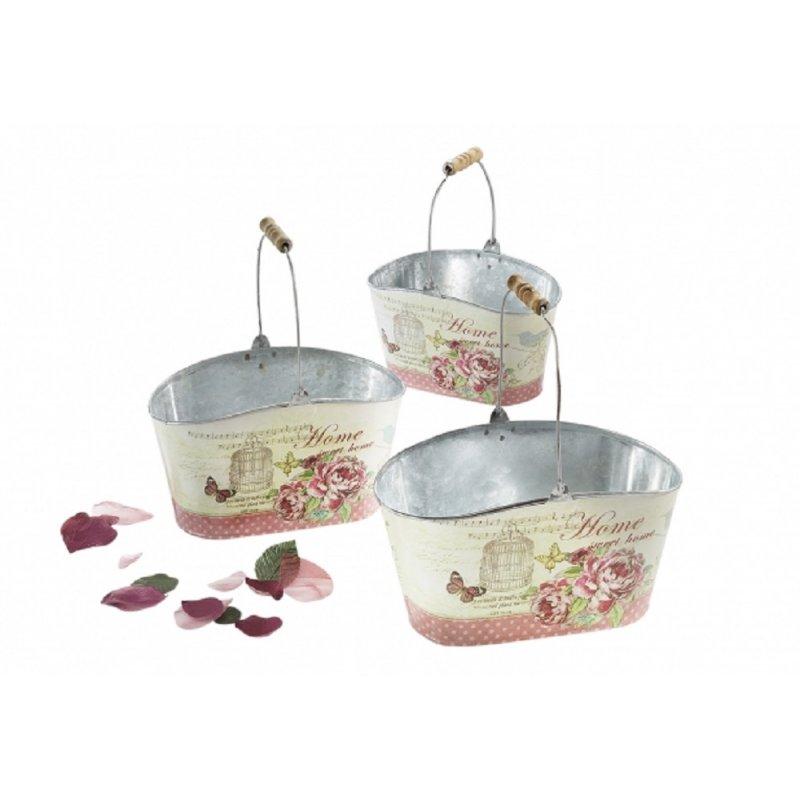 Pflanzschalen Set mit Rosenblüten Drei Deko Landhaus Rosen Töpfe