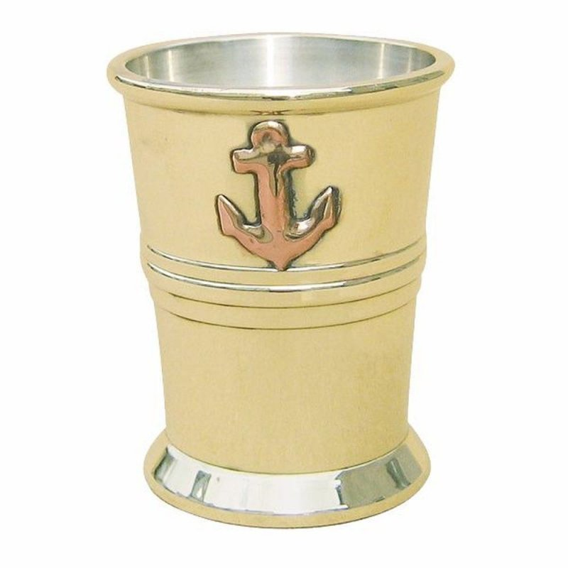 Rum Becher aus Messing innen versilbert Maritimer Schnaps Stamper G4601