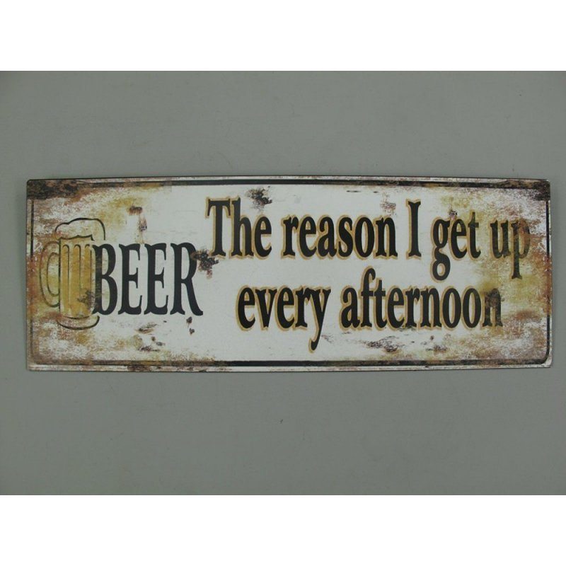 Blechschild, Reklameschild beer the reason, Gastro Wandschild 13x36 cm