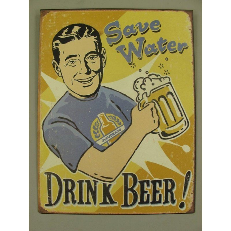 Blechschild, Reklameschild Save Water Drink Beer, Wandschild 33x25 cm