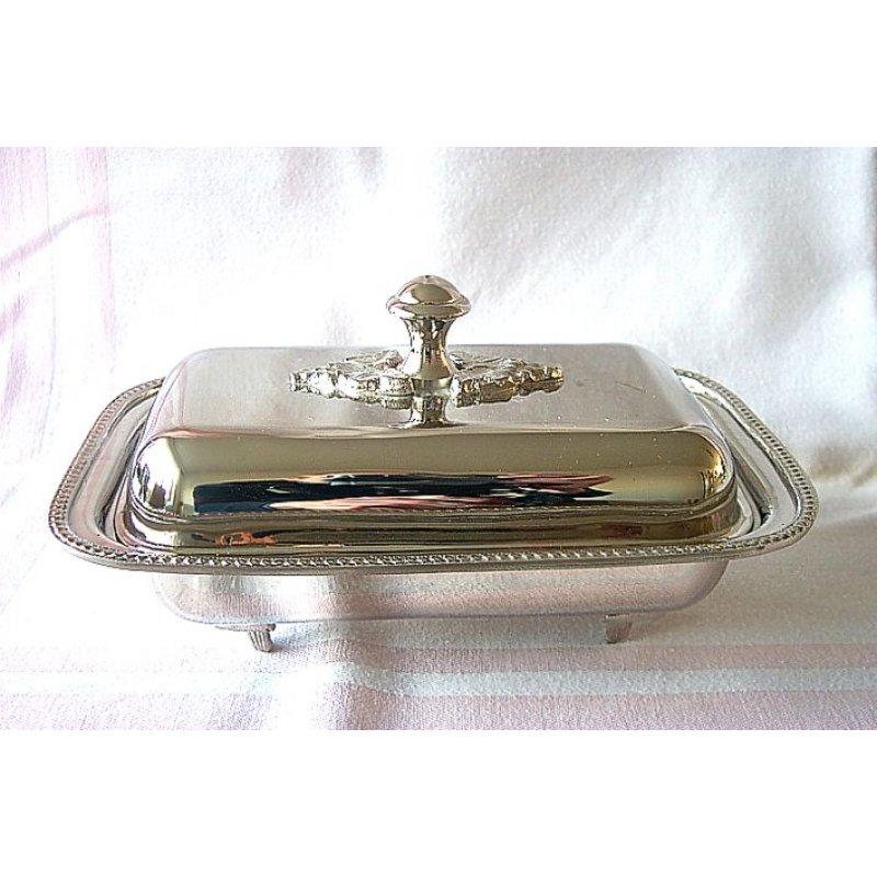 Butterglocke Kaviardose mit Glaseinsatz silbern Glockenförmige Butterschale